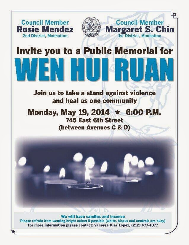 If you can, attend today's public memorial for 68-year old Wen Hui Ruan