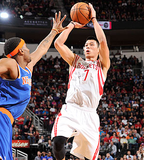 Jeremy Lin shoots against the New York Knicks