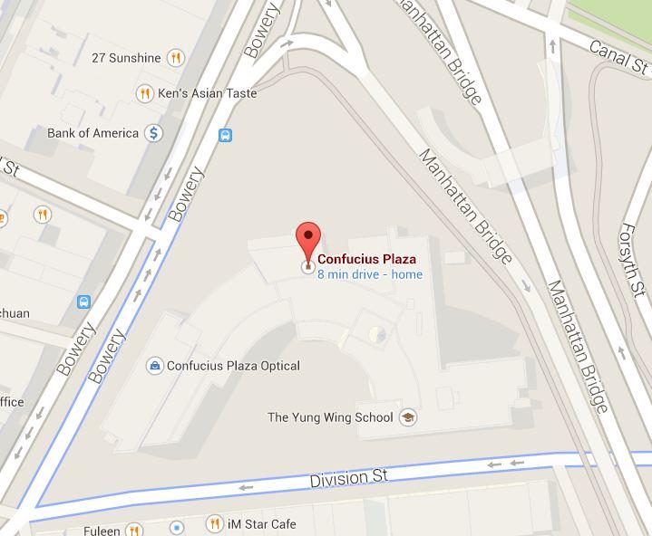 Confucius Plaza location in Chinatown