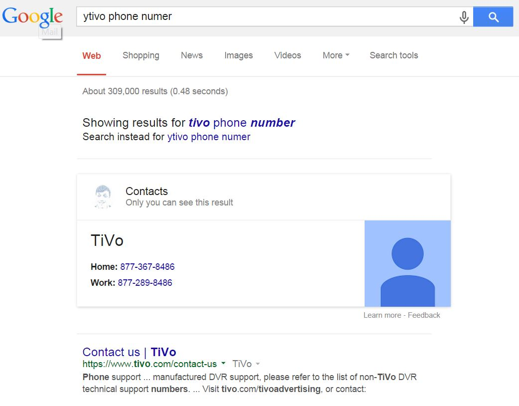 Google showing phone contacts in SERPs