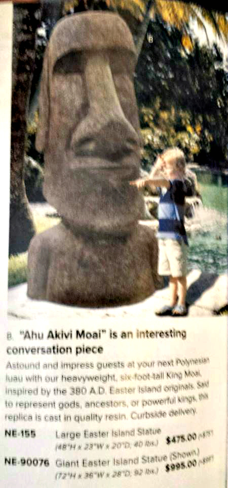 Easter Island conversation piece from SkyMall Catalogue