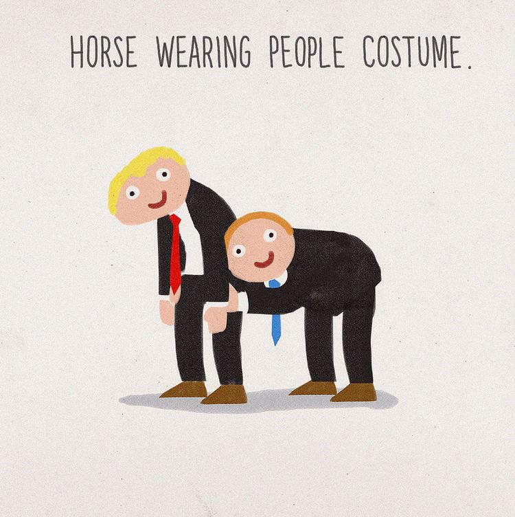 A horse wearing a human costume