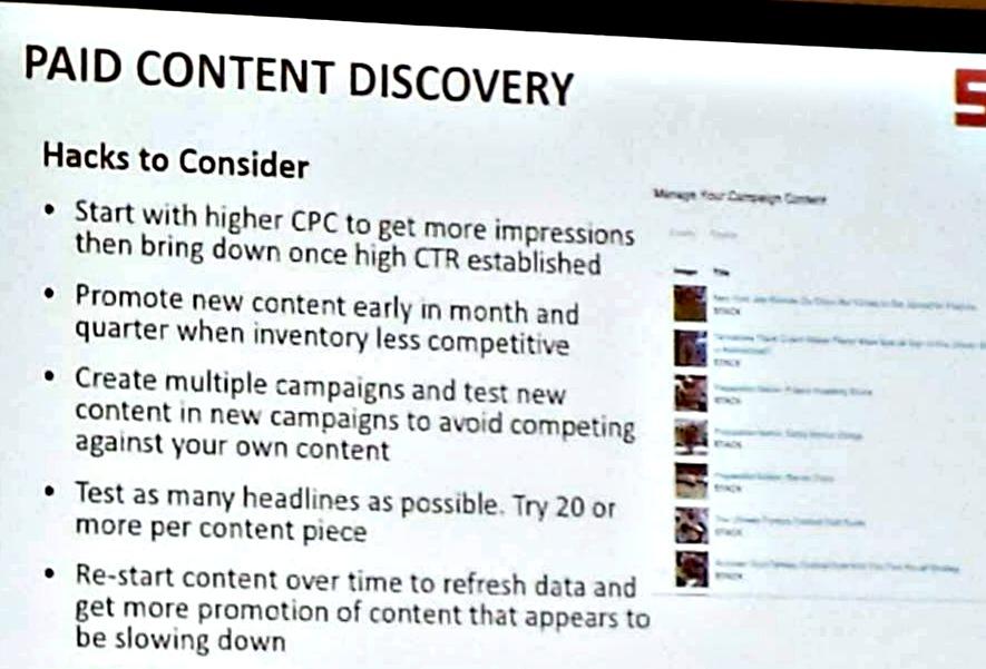 paid discovery hacks slide CMWorld