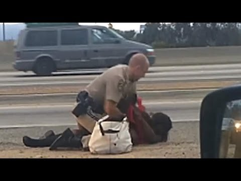 Ridiculous police brutality on the shoulders of California Interstate 10