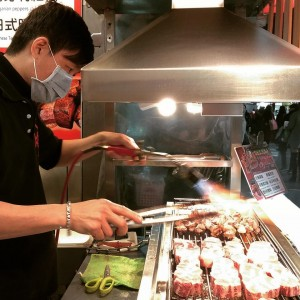 Pork nuggets getting fired up at the Shilin Night Market
