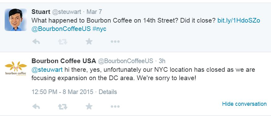 Bourbon Coffee closed New York