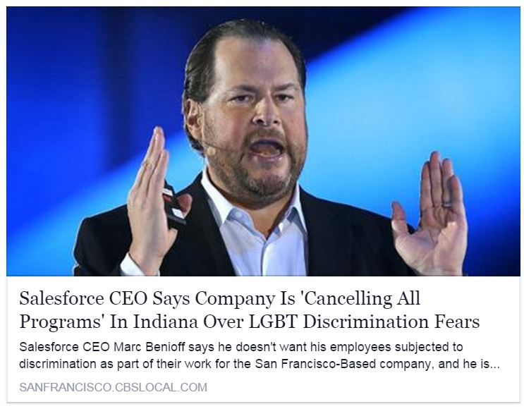 Salesforce CEO Marc Benioff takes stand against Indiana anti-gay law