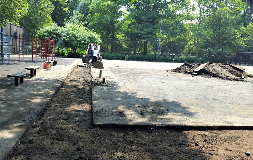 tompkins square park basketball construction