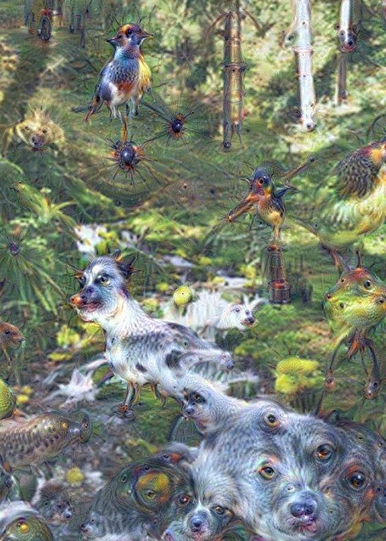 AI waterfall dog and birds