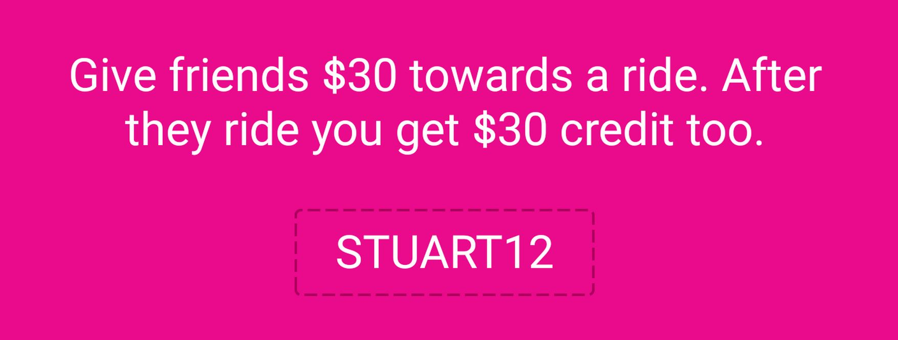 Lyft credit for free rides STUART12