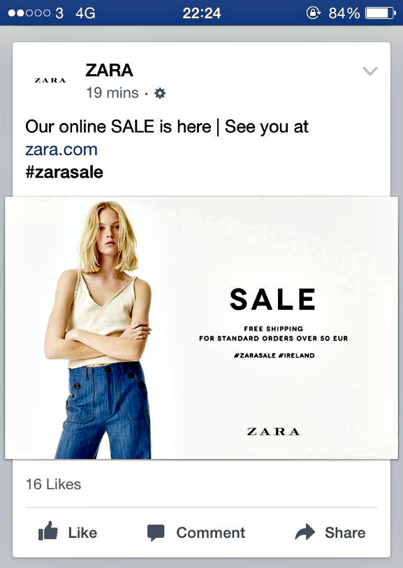 With Zara sale in U.K. and Ireland, is U.S. sale coming tomorrow?