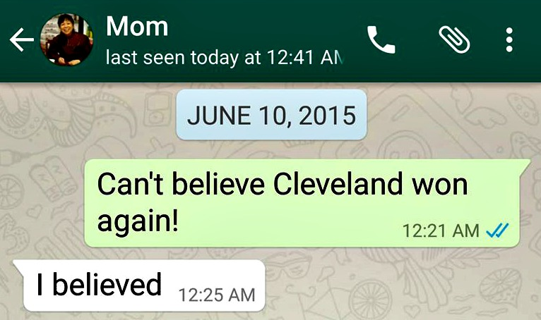 My mom isn't surprised that the Cavs beat the Warriors (again)