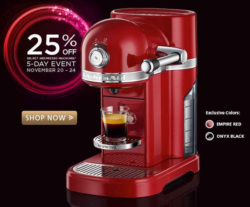 nespresso machine sale promotion 25 percent off sale