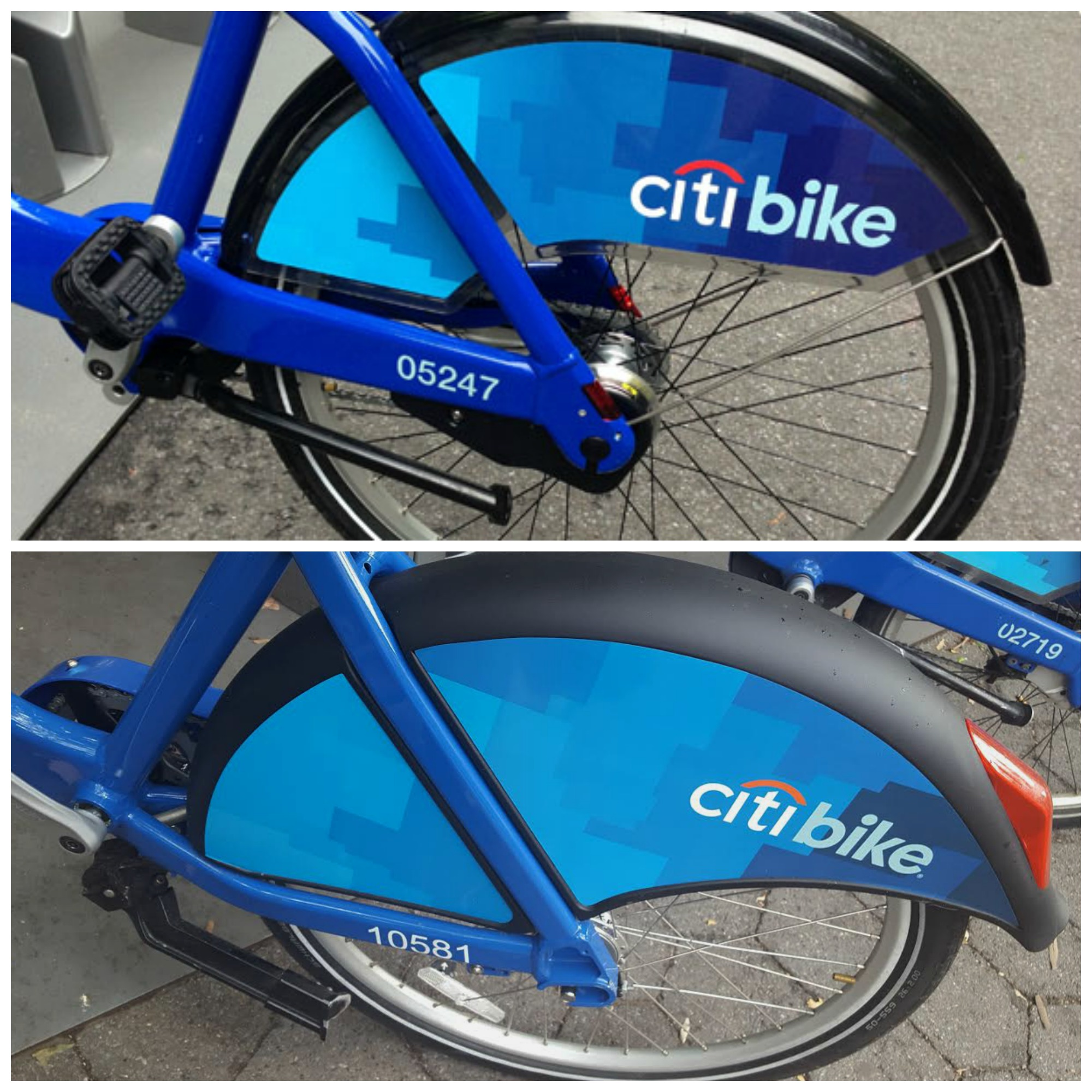 Citibike old and new kickstand and splash guard