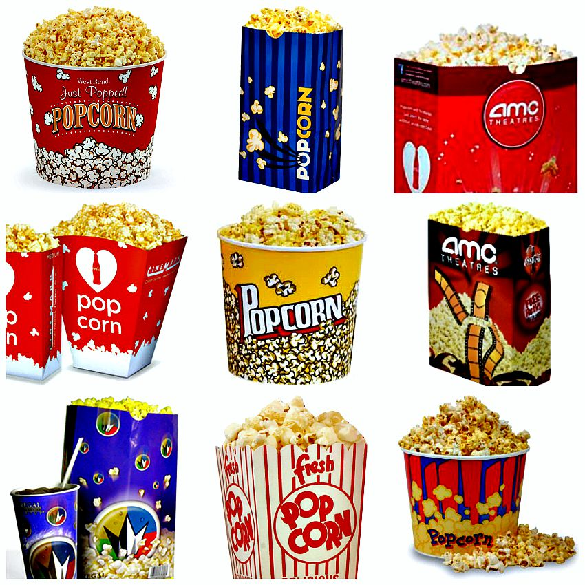 How many calories are in a large movie popcorn from AMC, Regal and Cinemark?