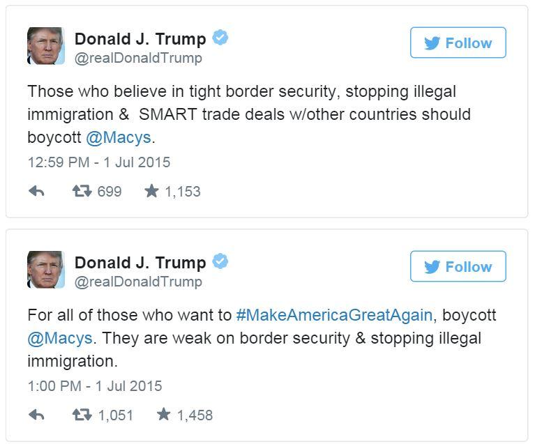 Trump boycott macys twitter