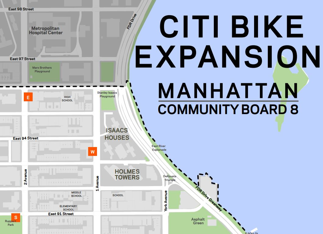 Citi Bike confirms locations for the 80 new stations in Upper West Side and Upper East Side