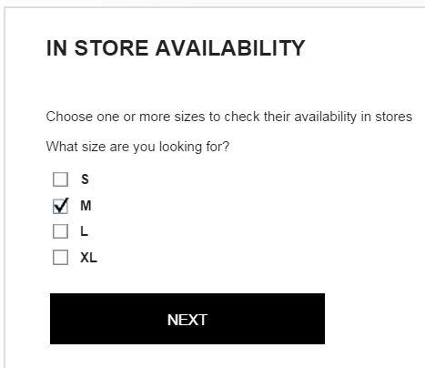 Zara stock choose sizing