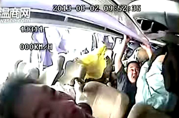Camera inside Chinese tourist bus captures footage of what happens during an accident