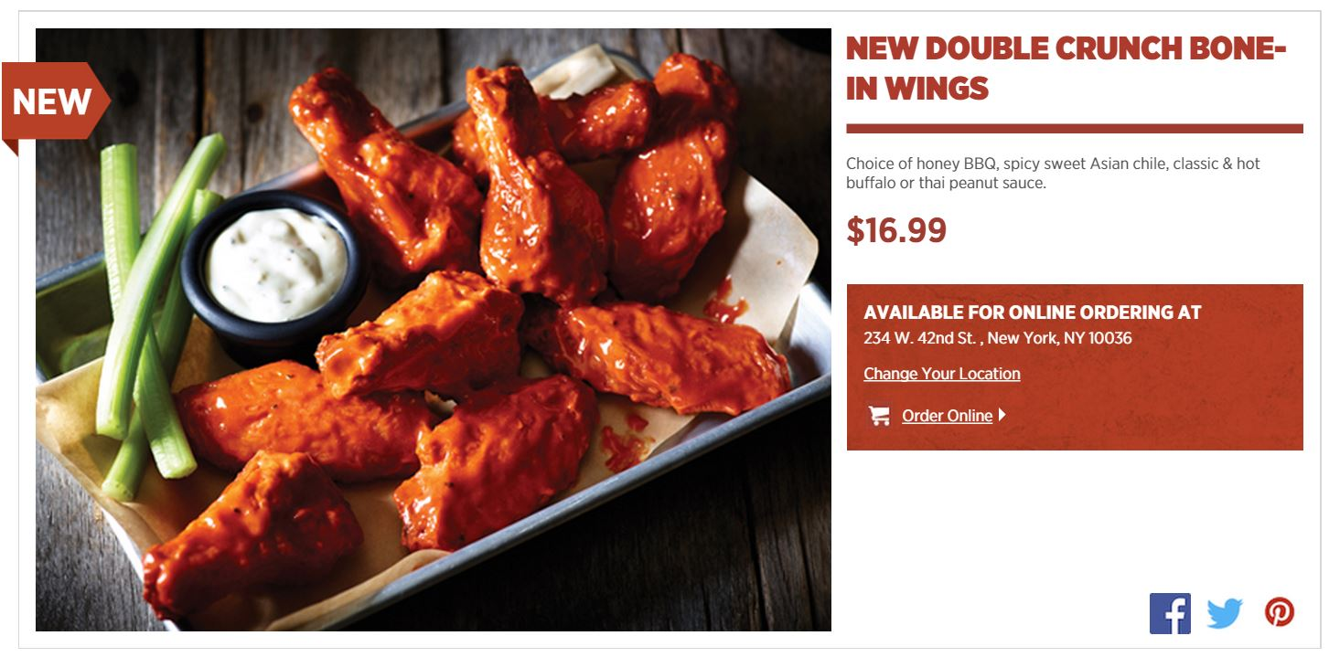 Applebees chicken wings calories full order