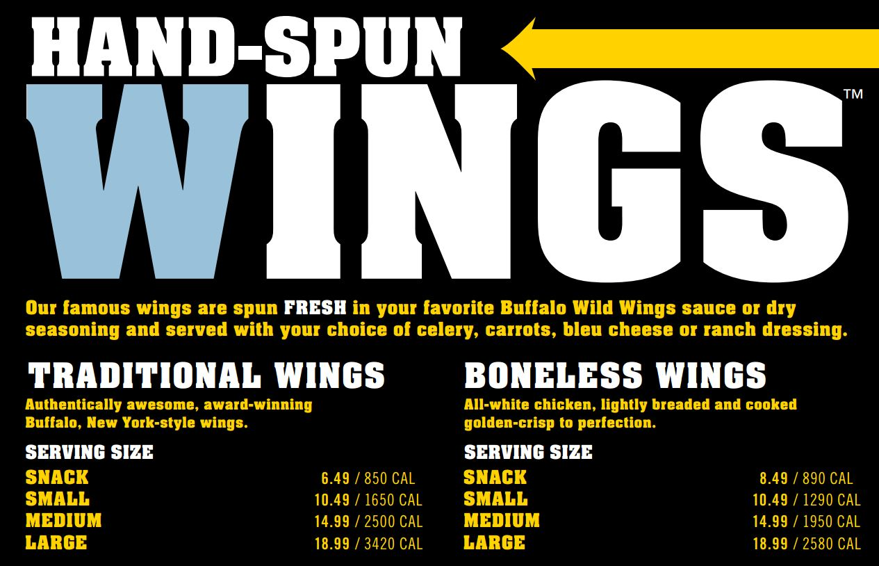 Buffalo Wild Wings buffalo wings calories per serving