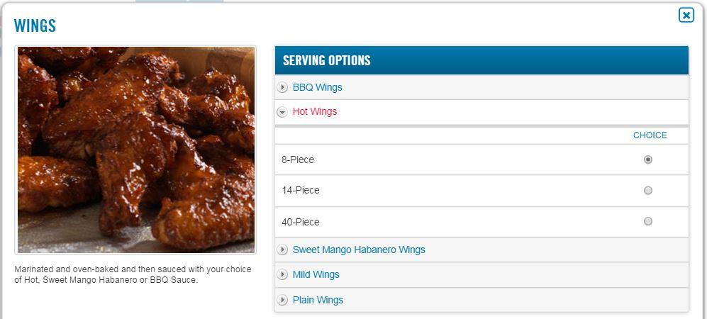Dominos chicken wings calories