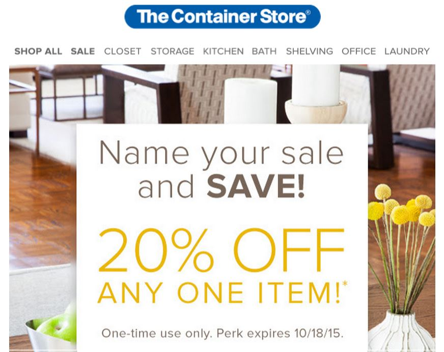 "Container Store code for ""20% off single item"" if you're a POP! program member"