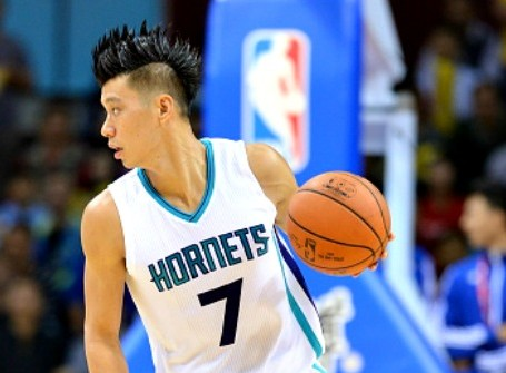 Jeremy Lin dribbles for Charlotte Hornets in NBA Global Games