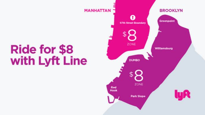 Lyft Line $8 in Manhattan