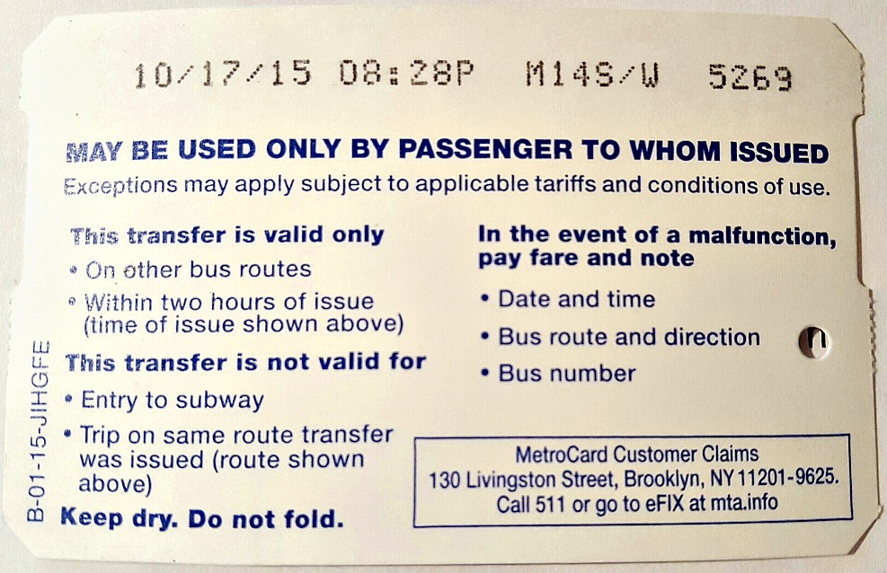 Metrocard transfer restrictions and rules