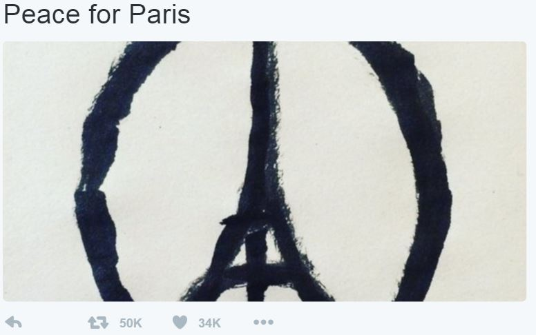 peace for paris eiffel tower sketch image twitter