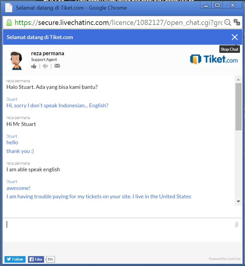 Tiketcom live chat awesome
