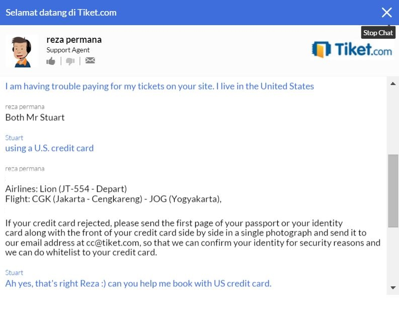 Tiketcom live chat problem with credit card from US