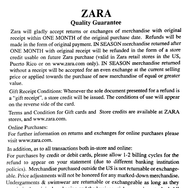What is Zara's Christmas (holiday) return policy?