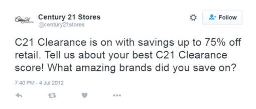 century 21 sale tweet