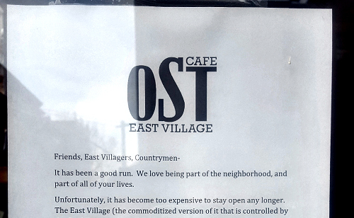 Ost Cafe Closing: Last day in East Village is Sunday, Feb 26, 2017