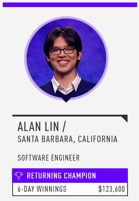 Alan Lin piling up consecutive wins on 'Jeopardy!'