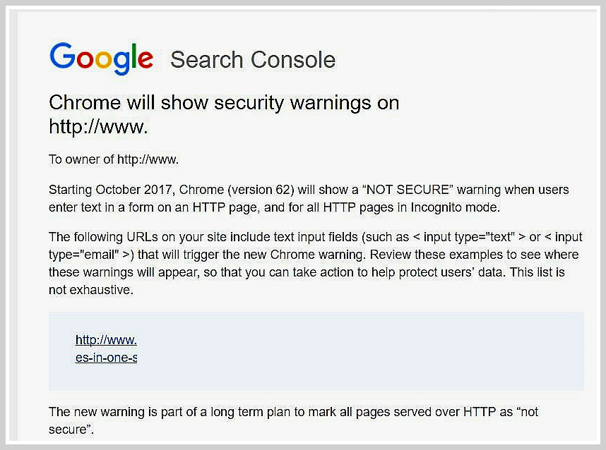 "What does the ""Chrome will show security warnings"" message(s) I received mean? And how do I fix it?"