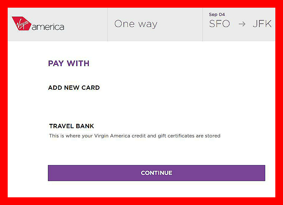 Why won't Virgin America's website allow me to make a payment or add a credit card?