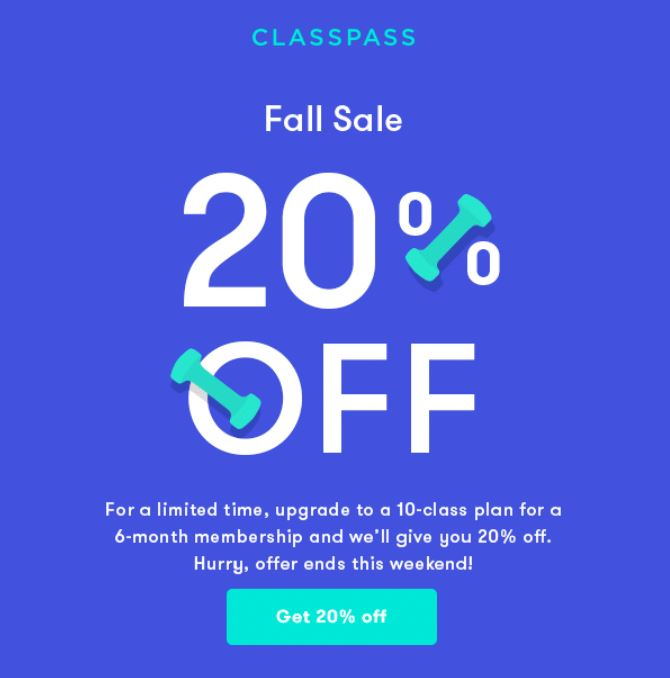 For a limited time, ClassPass offering 20% discount off 10-class plan