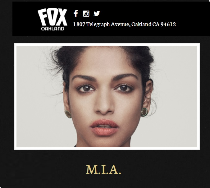 M.I.A. to play concert at The Fox in Oakland, CA — can a national tour be coming soon?