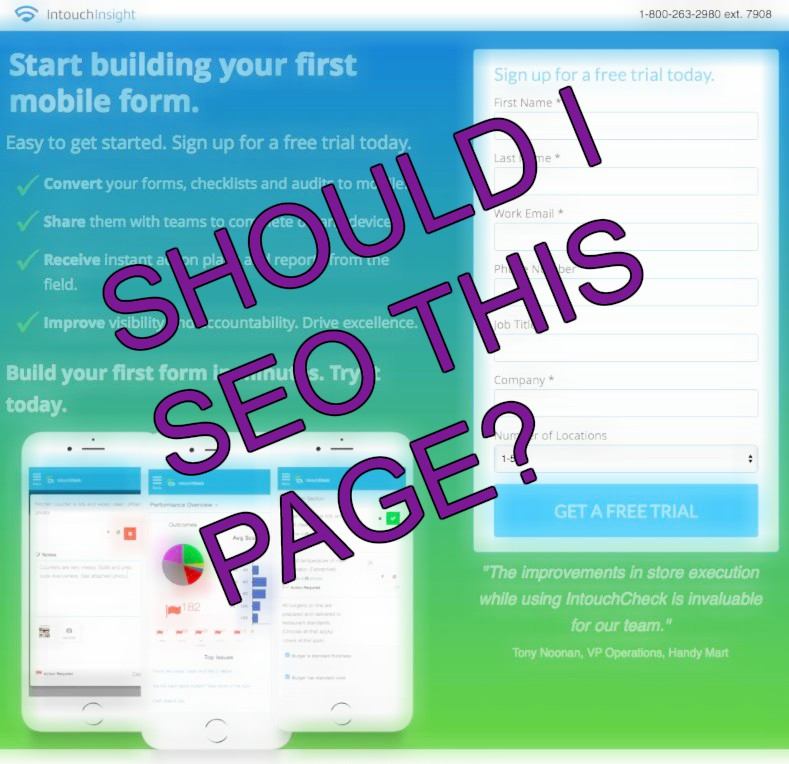 Should I be doing SEO for a lead gen page or campaign landing pages?