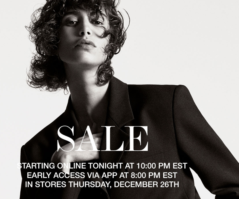 "ZARA winter sale coming early with ""after-Christmas"" online sale on X-mas day (10 PM)"