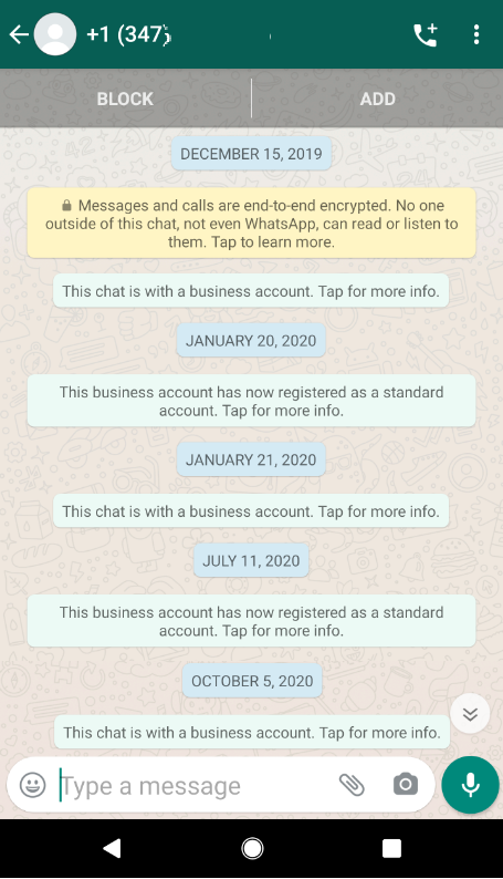 "WhatsApp: What does ""this account was previously a business account"" mean?"